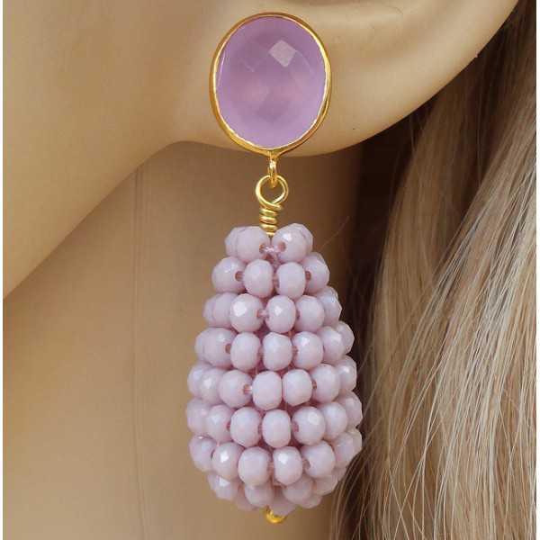 Vergulde oorbellen druppel van lila kristallen en lavendel Chalcedoon