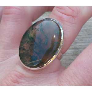 Zilveren ring gezet met brede ovale Mosagaat 18 mm