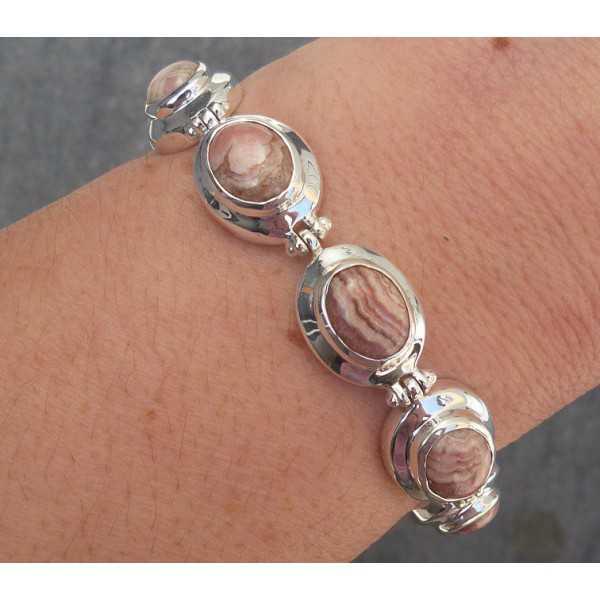 Zilveren armband gezet met Rhodochrosiet