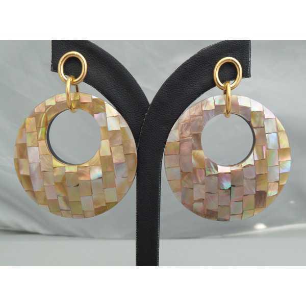 Oorbellen met ronde hanger van mosaic Parelmoer