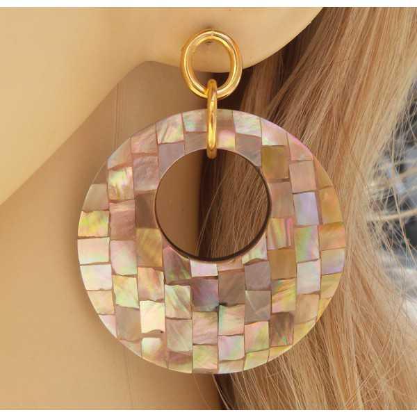 Vergulde oorbellen met ronde hanger van mosaic Parelmoer