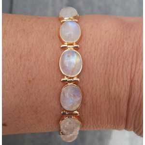 Rosé vergulde armband gezet met cabochon Maanstenen