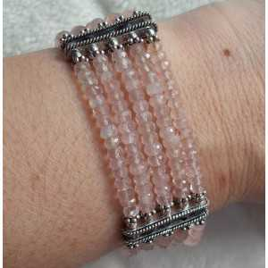 Zilveren armband met Rozenkwarts steentjes
