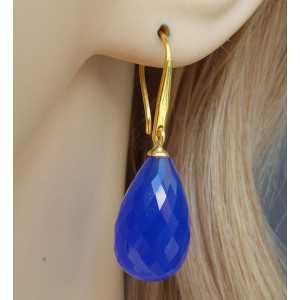 Vergulde oorbellen lange facet blauwe Chalcedoon briolet