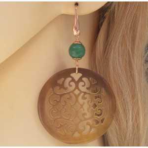 Rosé vergulde oorbellen met ronde Buffelhoorn en groene Jade