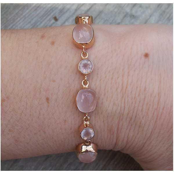Rosé vergulde armband gezet met cabochon en facet Rozenkwarts