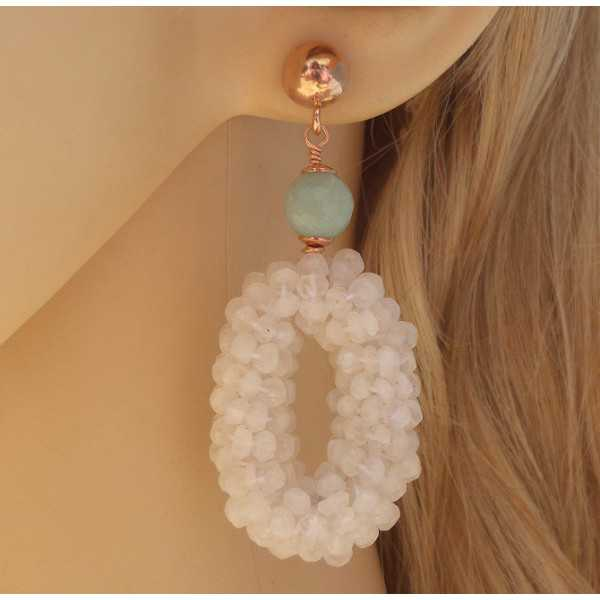 Rosé plated earrings with oval of Moonstone and Amazonite