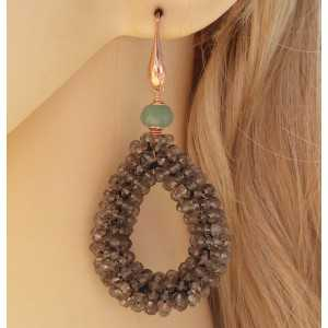 Rosé gold-plated earrings drop of Smokey Topazes and Aventurine
