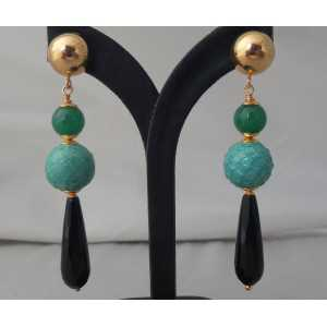 Gold plated earrings with Onyx, Jade and sphere of Snakeskin