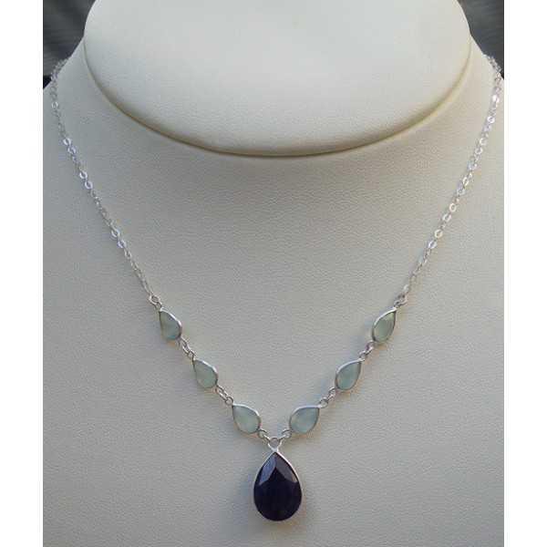 Silber Halskette set mit Saphir und aqua Chalcedon