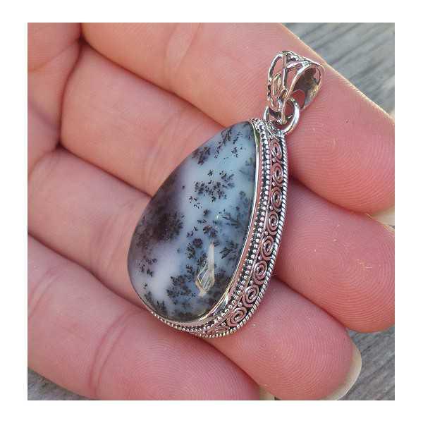 Silber Anhänger Dendriten Opal geschnitzt-Einstellung