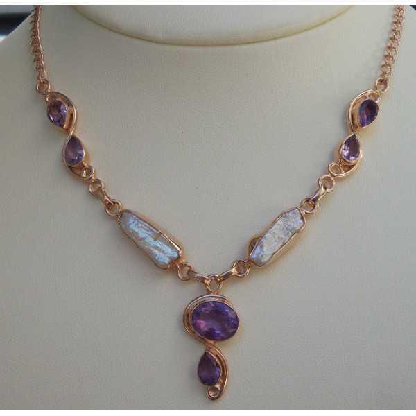 Rosé vergoldete Halskette set mit Perle und Amethyst