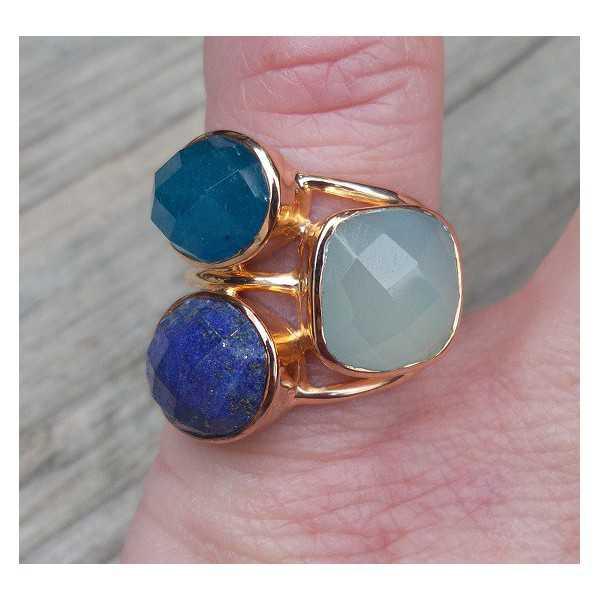 Rose gold überzogener ring mit Chalcedon, Lapis und Aventurin 16 mm