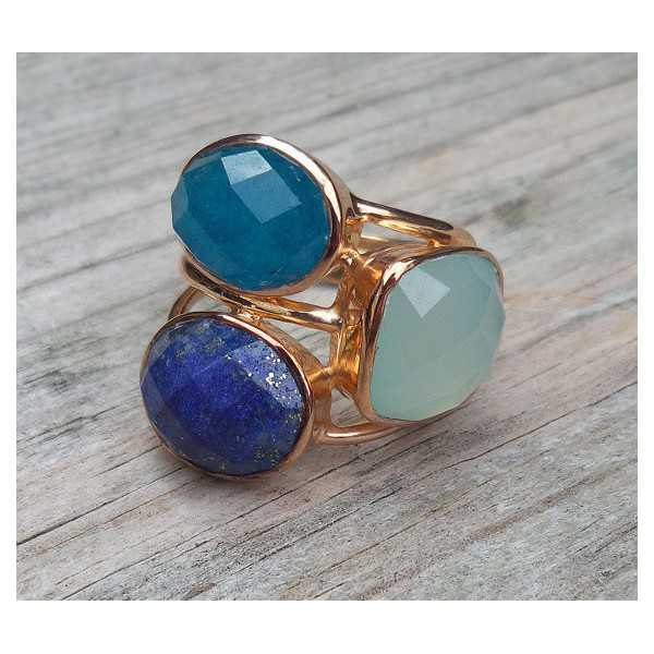Rose gold plated ring with Chalcedony, Lapis and Aventurine 16 mm