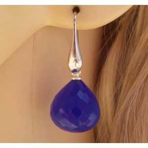 Silber Ohrringe mit blauen Chalcedon onion briolet