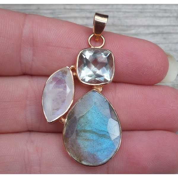 Rosé gold-plated pendant Labradorite, Moonstone and green Amethyst