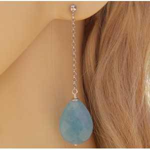Zilveren lange oorbellen met facet Amazoniet briolet