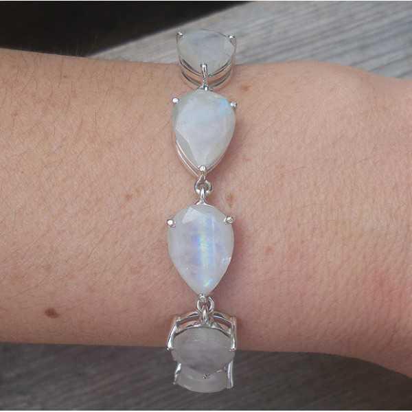 Silber Armband-set mit tropfenförmigen facettierten Mondsteine
