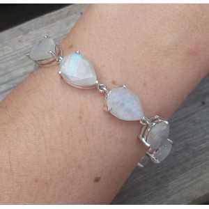 Silver bracelet set with teardrop shaped faceted Moonstones