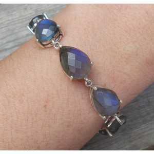 Silber Armband-set mit tropfenförmigen facettierten Labradorit
