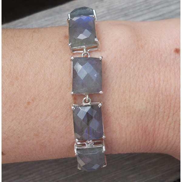Silver bracelet set with rectangular faceted Labradorite