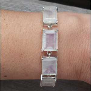 Silver bracelet set with rectangular faceted Moonstones