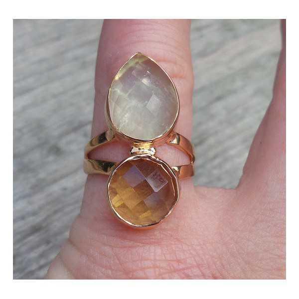 Rosé vergoldete ring besetzt mit Lemon Topas und seine Farbe 16,5 mm