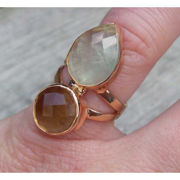 Rosé gold-plated ring set with Lemon Topaz and its color 16.5 mm