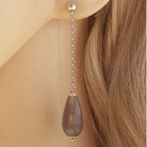 Silber lange Ohrringe mit schmalen grauen Achat-briolet