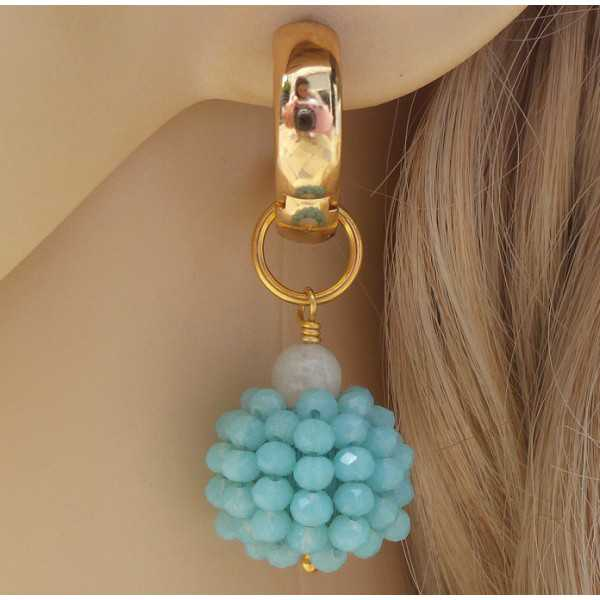 Gold creoles with a globe of blue crystal and Moonstone