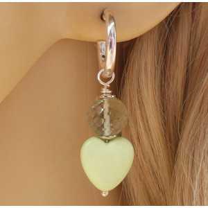 Silber Kreolen Herzen von Zitronen-Chrysopras und grüner Amethyst