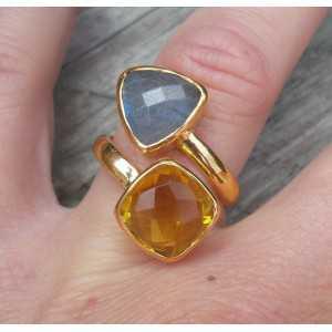 Gold-plated ring-set mit Labradorit und Citrin 17 mm