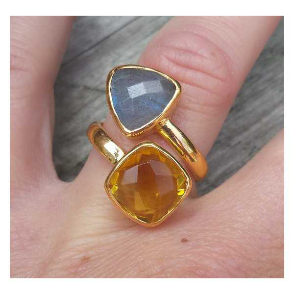 Gold-plated ring set with Labradorite and Citrine 17 mm