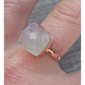 Rosé gold-plated ring set with rainbow Moonstone