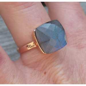 Rosé gold-plated ring set with Labradorite