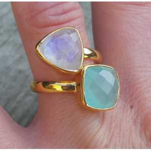 Gold-plated ring besetzt mit Mondstein und Chalcedon