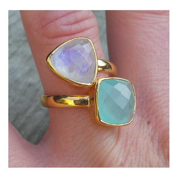 Gold-plated ring set with Moonstone and Chalcedony
