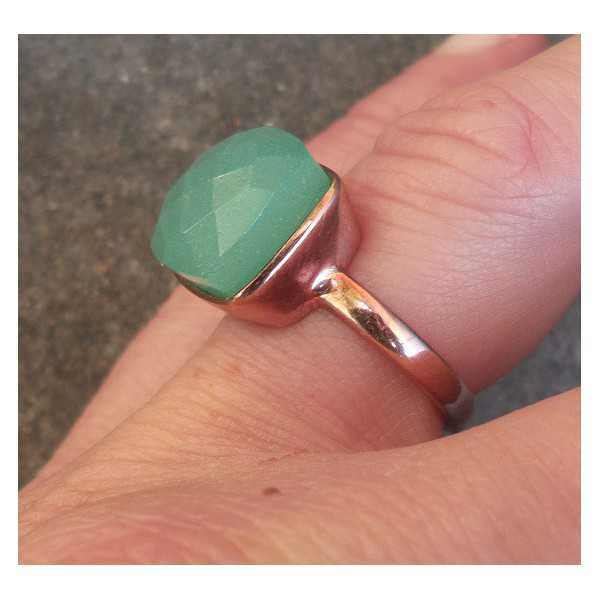 Rosé gold-plated ring set with aqua Chalcedony