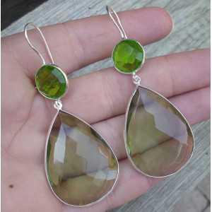 Zilveren oorbellen gezet met groene Amethist en Peridot quartz