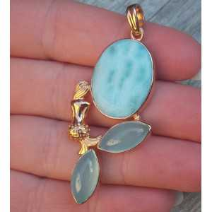 Rosé gold-plated pendant set with Larimar and Chalcedony