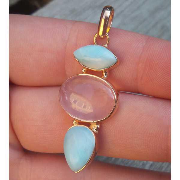 Rosé gold-plated pendant set with Larimar and rose quartz