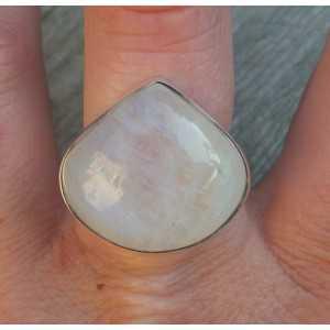 Silber ring breit ovalen Regenbogen-Mondstein 18 mm