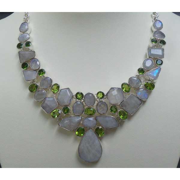 Silber Halskette und Ohrringe mit Regenbogen-Mondstein und Peridot