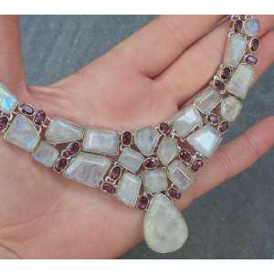 Silber Halskette und Ohrstecker mit Mondsteine und Amethisten