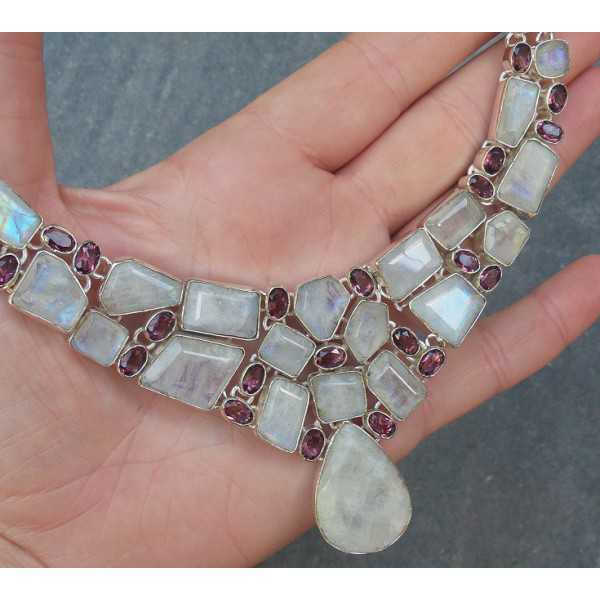 Silver necklace and earrings with Moonstones and Amethisten