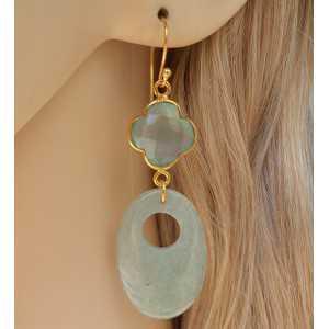 Vergulde oorbellen met ovale Aventurijn en groene Chalcedoon