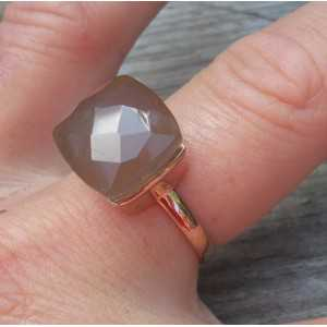 Rosé-gold-plated ring-set mit grauem Chalcedon
