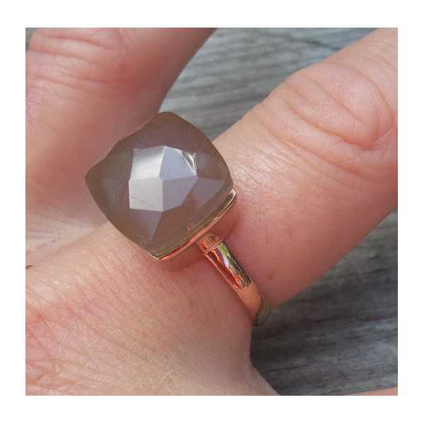 Rosé gold-plated ring set with gray Chalcedony