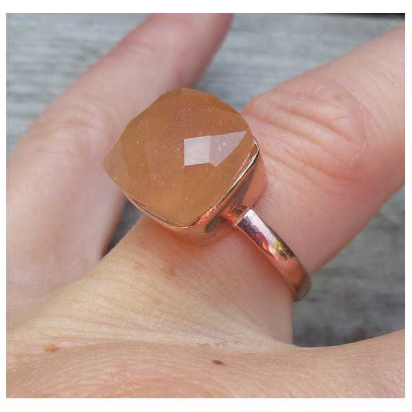 Rosé-gold-plated ring-set mit Pfirsich-Chalcedon
