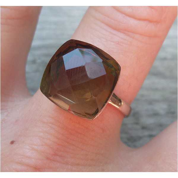 Rosé gold-plated ring set with Smoky Topaz